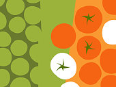 Abstract fruit and vegetable design in flat cut out style. Rows of tomatoes. Vector illustration.