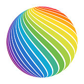 Abstract full color rainbow spectrum striped ball