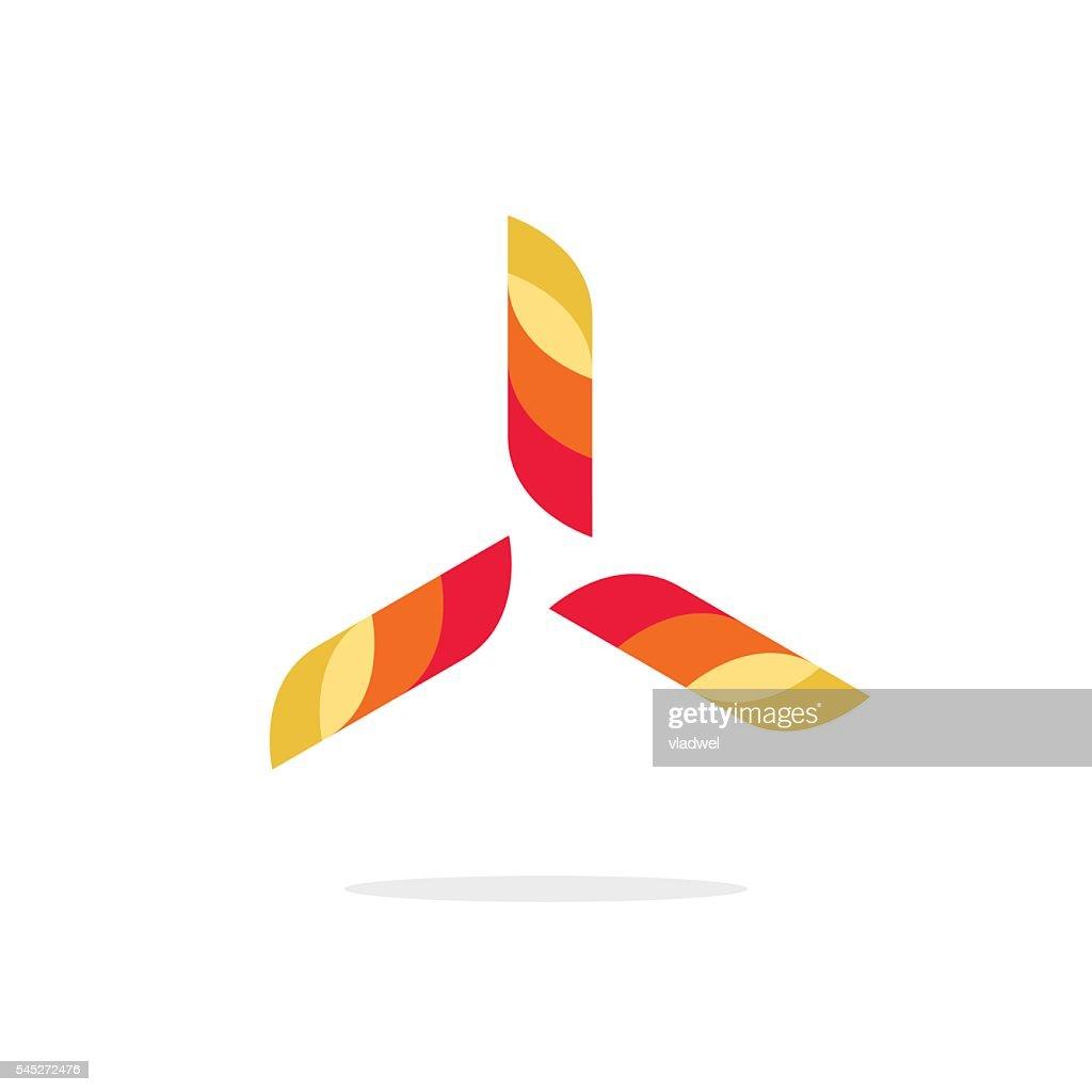 Abstract fun propeller vector logo, wind turbine power energy concept