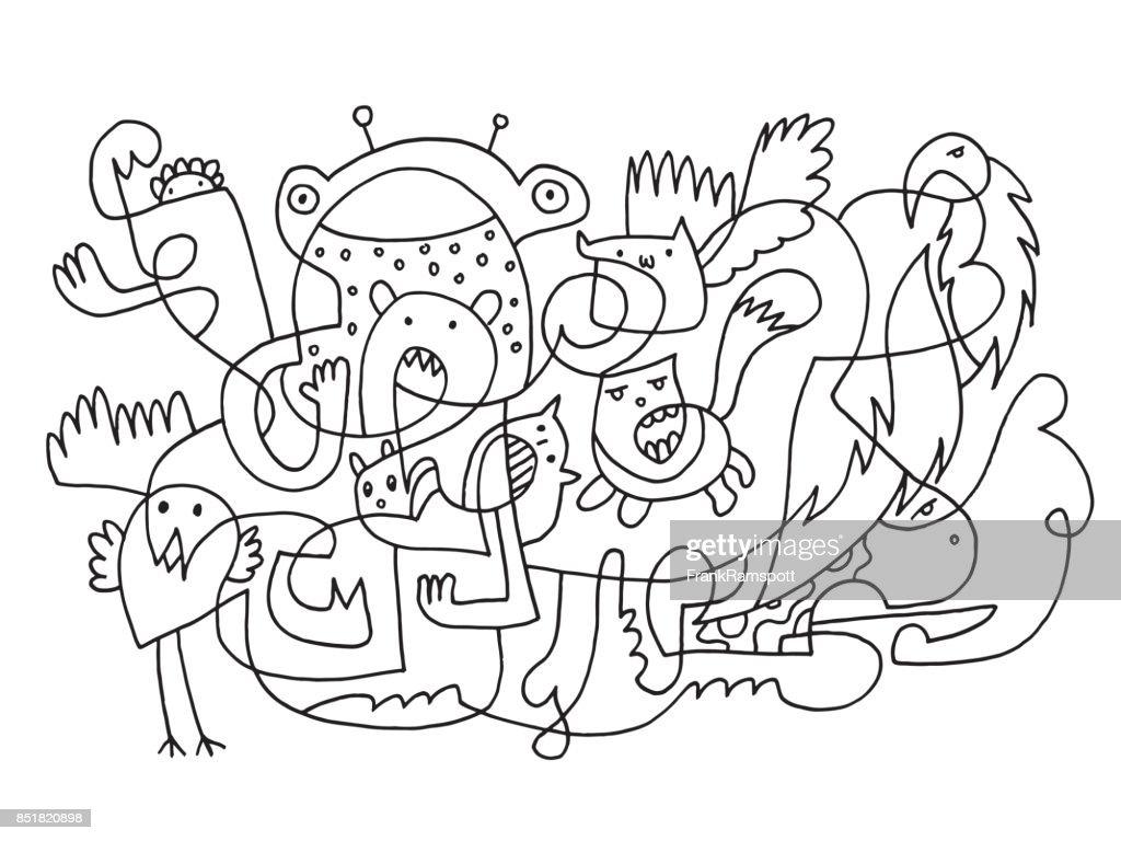 Lustige Doodle Tiere abstrakte Zeichnung : Stock-Illustration