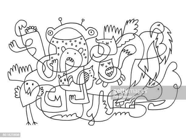 abstract funny doodle animals drawing - pen and ink stock illustrations
