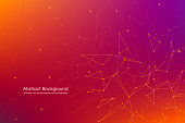 Abstract futuristic background with dots and lines, molecular particles and atoms, polygonal linear digital texture, technological and scientific concept, vector illustration