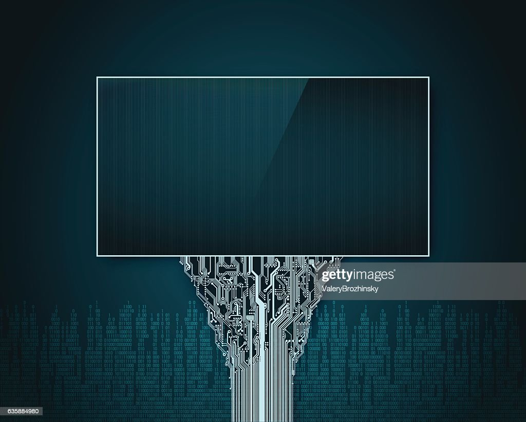 Abstract Futuristic Billboard With A Support In Printed Circuit ...
