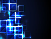 Abstract futuristic blue square concept background.