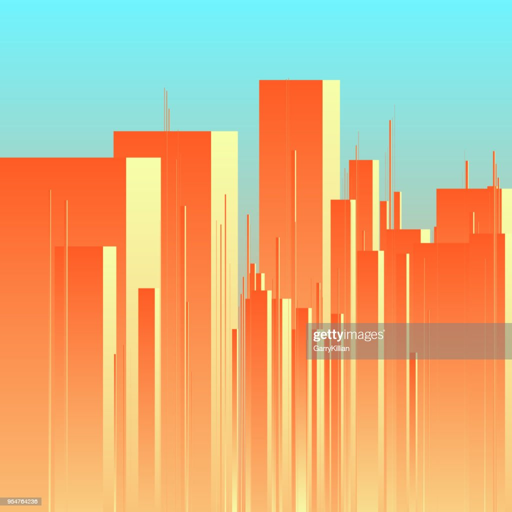 Abstract futuristic city vector background. View of town center with towers. Minimalistic illustration of cityscape with large buildings. Skyline with high rise skyscrapers in morning sunrise backdrop