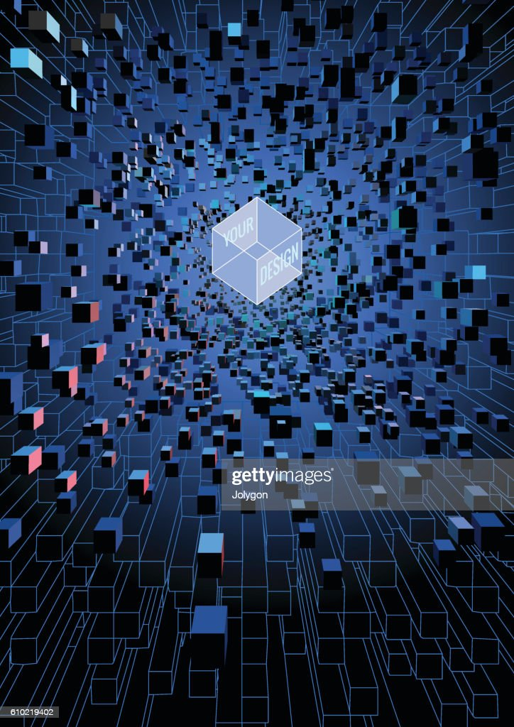 Abstract futuristic floating cubes on digital technology concept