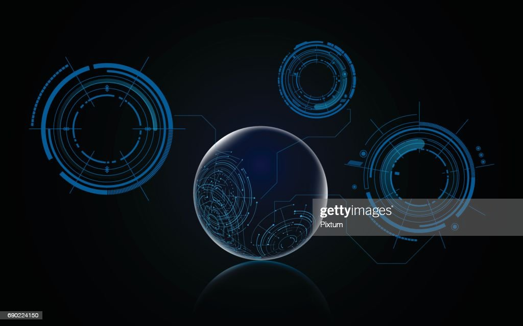 abstract futuristic globe with hud elements background