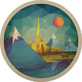 Abstract Futuristic Landscape of Triangles