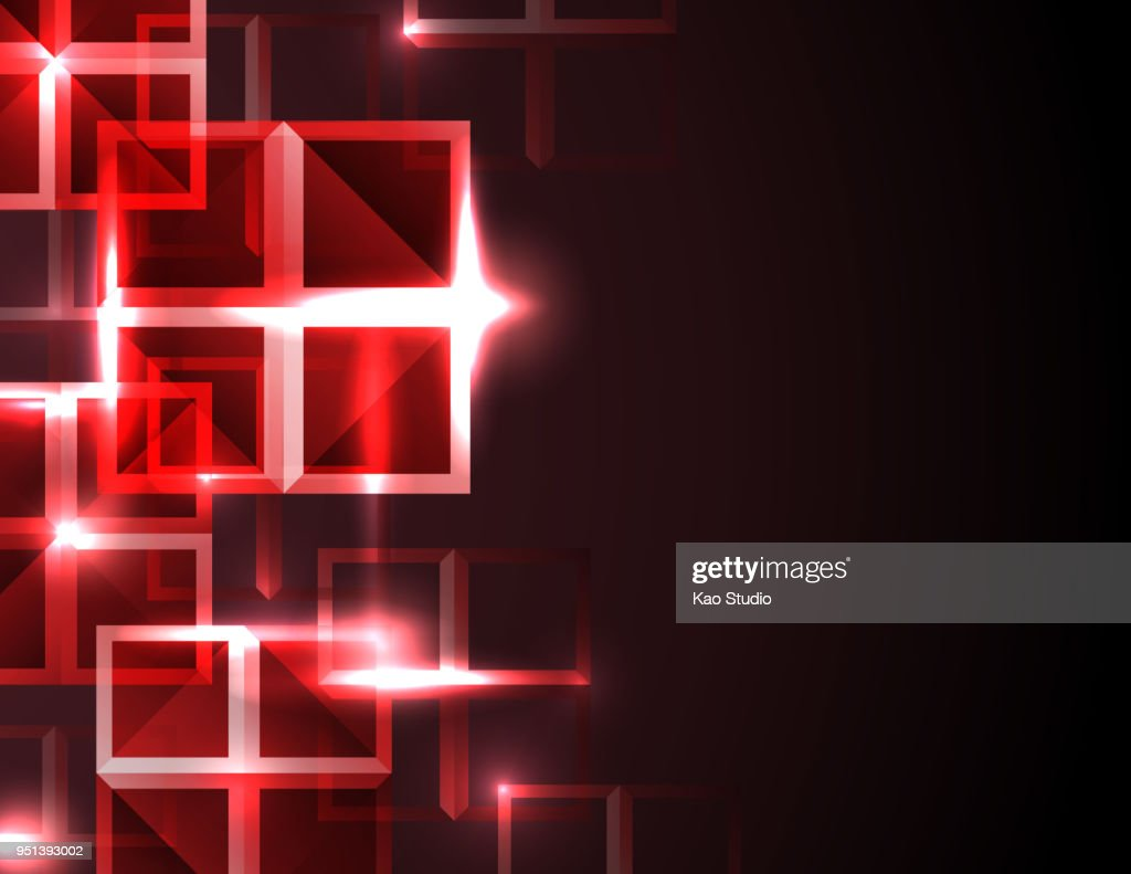 Abstract futuristic red square concept background.
