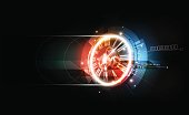 Abstract Futuristic Technology Background, Clock concept, Time Machine, vector transparent