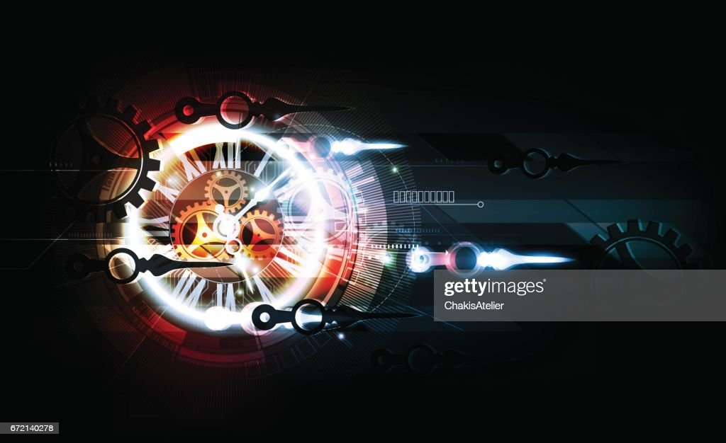 Abstract Futuristic Technology Background, Clock concept Time Machine, vector illustration