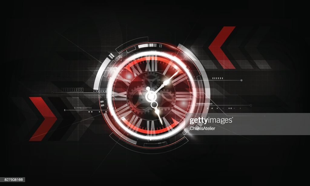 Abstract Futuristic Technology Background Clock concept, Time Machine, vector illustration