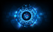 Abstract Futuristic Technology Background with Clock concept and Time Machine