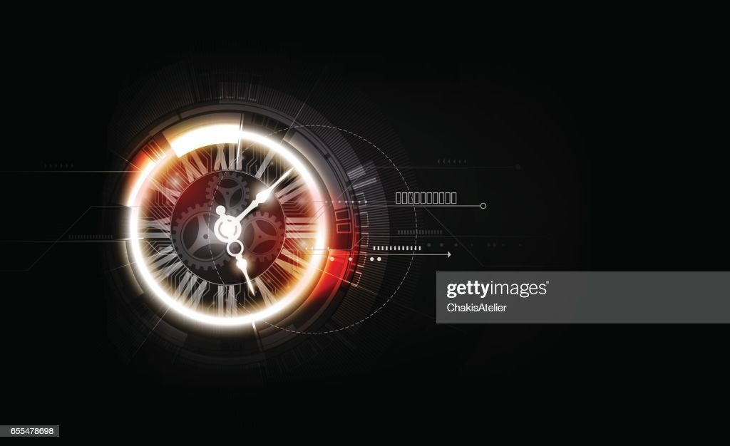Abstract Futuristic Technology Background with Clock concept, Time Machine, vector