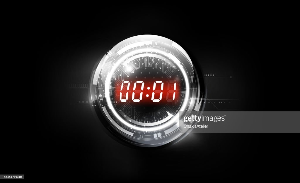 Abstract Futuristic Technology Background with Red Digital number timer concept on glass sphere and countdown, vector illustration