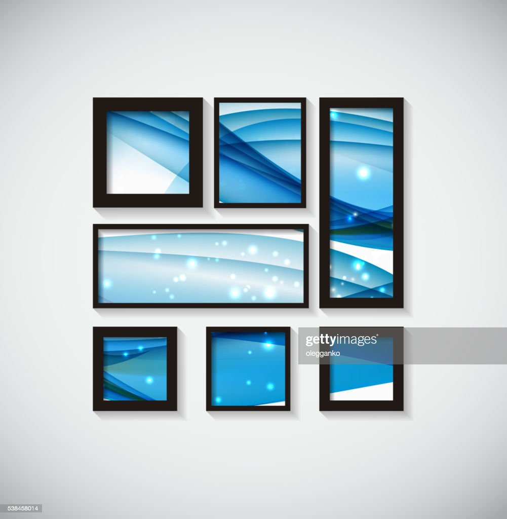 Abstract Gallery Background with Frame and Beautiful Wave. Vecto
