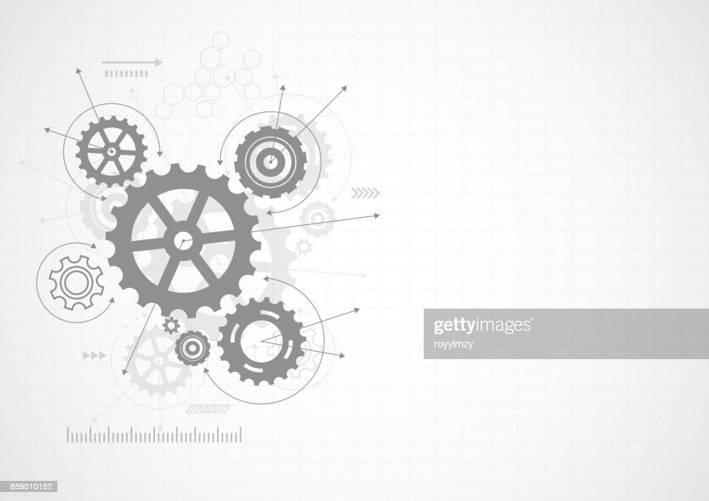 Abstract gear wheel mechanism background. Machine technology. Vector illustration