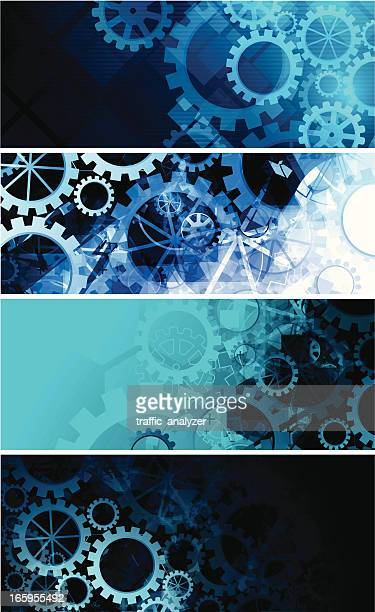 abstract gears banners - gearshift stock illustrations, clip art, cartoons, & icons