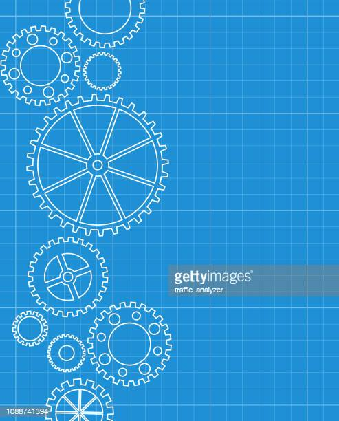 abstract gears blueprint background - gearshift stock illustrations, clip art, cartoons, & icons