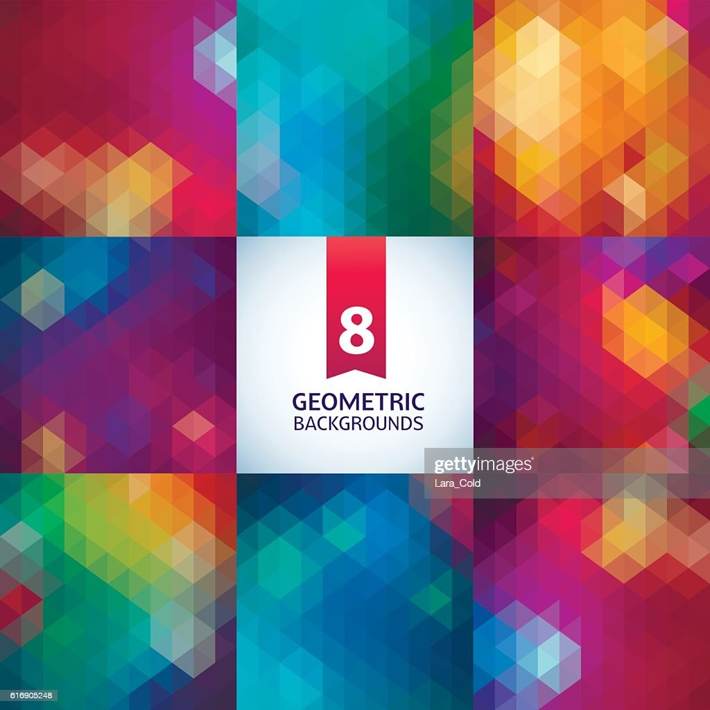 Abstract geometric background illustration. Spectrum retro  pattern set : Vector Art