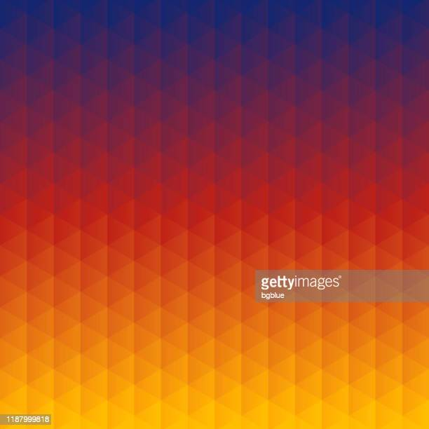 abstract geometric background - mosaic with triangle patterns - orange gradient - red and blue background stock illustrations
