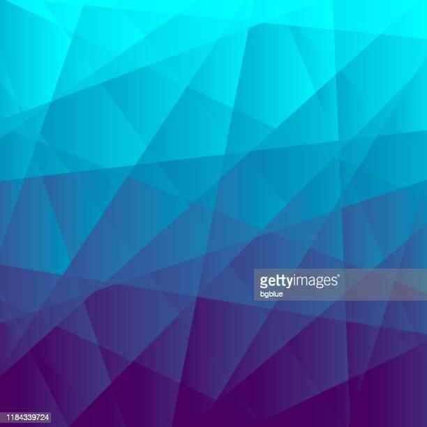 abstrakter geometrischer hintergrund - polygonmosaik mit blauem farbverlauf - mosaik stock-grafiken, -clipart, -cartoons und -symbole