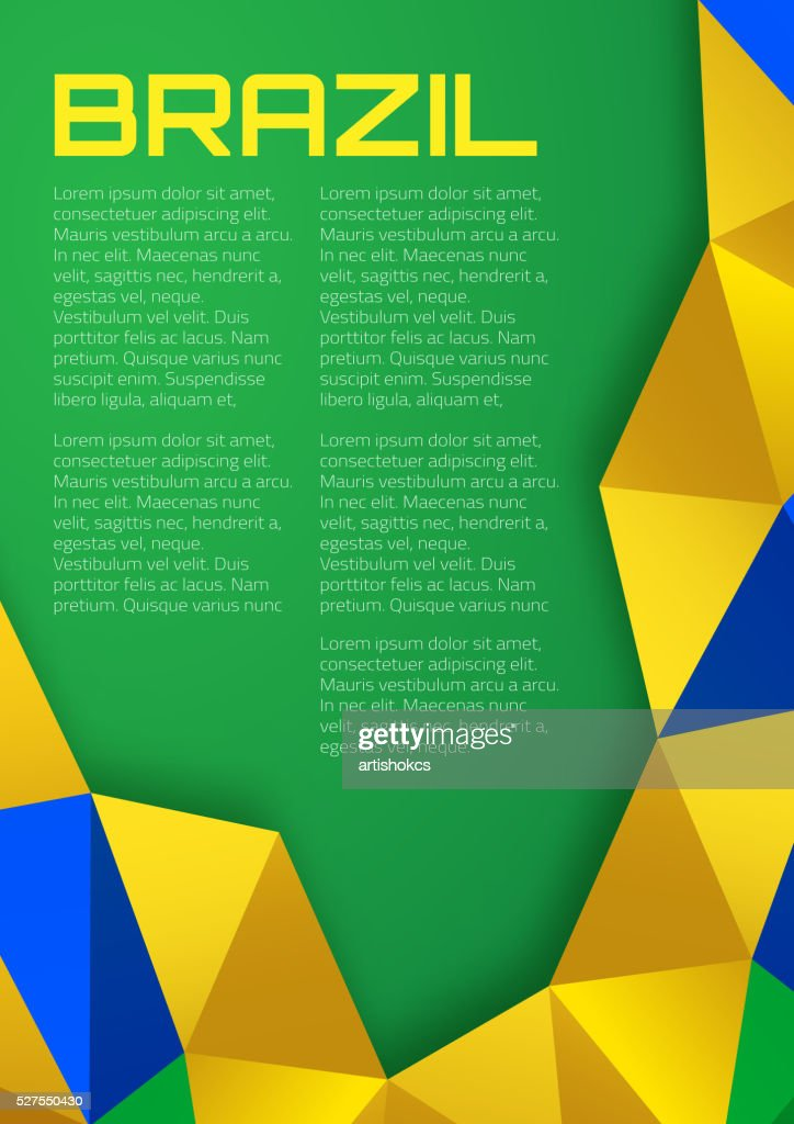 Abstract geometric background using Brazil flag colors 2016, A4 format.
