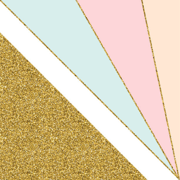 abstract geometric background with gold lines and pastel colored triangles. golden invitation, brochure or banner with minimalistic geometric style. gold lines, glitter, frame, vector fashion wallpaper, poster - pastel stock illustrations