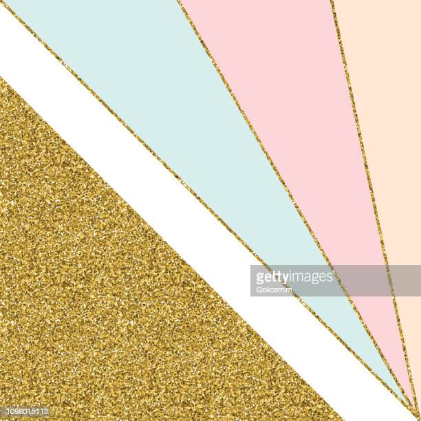 abstract geometric background with gold lines and pastel colored triangles. golden invitation, brochure or banner with minimalistic geometric style. gold lines, glitter, frame, vector fashion wallpaper, poster - girly wallpapers stock illustrations