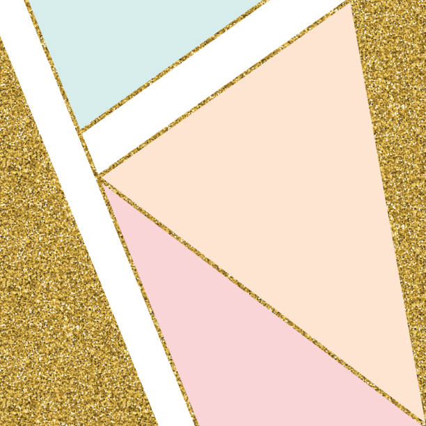 abstract geometric background with gold lines and pastel colored triangles. golden invitation, brochure or banner with minimalistic geometric style. gold lines, glitter, frame, vector fashion wallpaper, poster - femininity stock illustrations