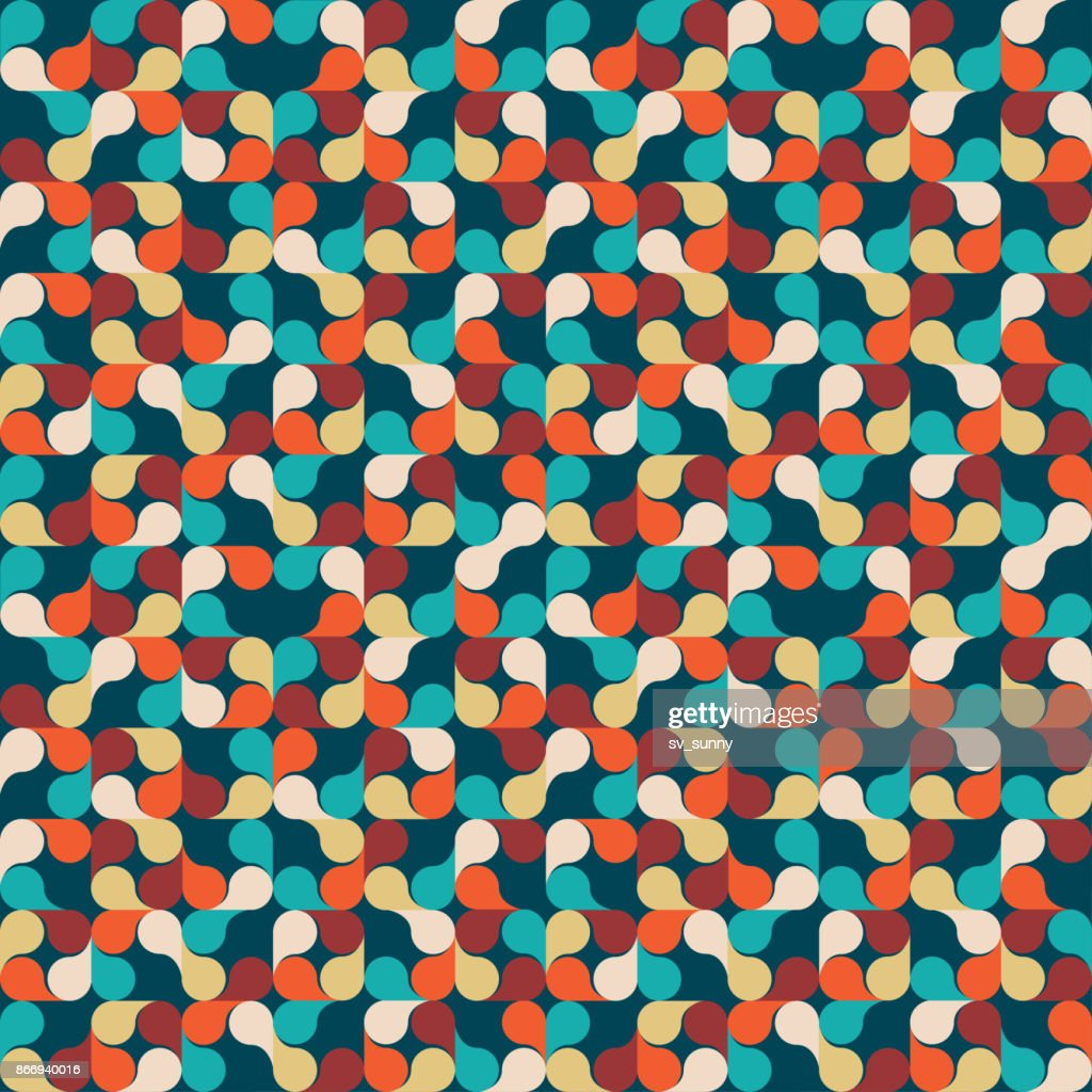 Abstract Geometric Background with leaves, drops. Colorful Textured seamless pattern