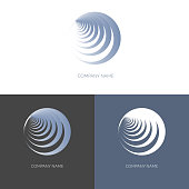 Abstract geometric banner label in the shape of round blue spiral Logo for the company business Design element icon logo Isolate Vector
