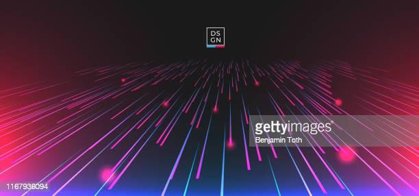 abstraktes geometrisches zentrisches bewegungsmuster mit dynamischem linienhintergrund. - blitzbeleuchtung stock-grafiken, -clipart, -cartoons und -symbole