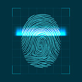 Abstract geometric concept for scanning fingerprints. personal ID verification. Vector illustration