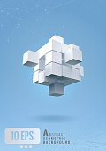 Abstract geometric cube set on blue background