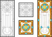 Abstract geometric floral pattern in a rectangular and square frame / Colorful stained glass window in classic style for ceiling or door panels, Tiffany technique. Vector set