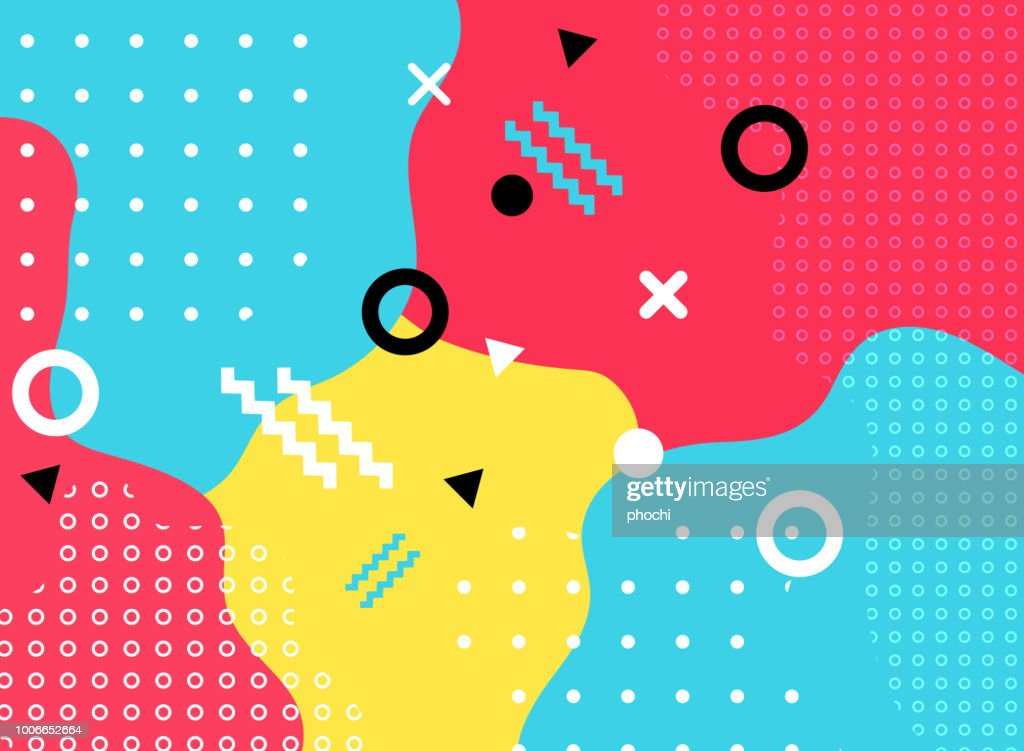Abstract geometric form with line and dots pattern on colorful background.