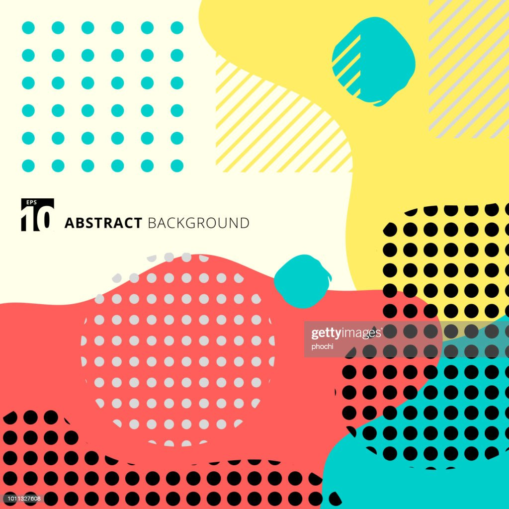 Abstract geometric form with line and dots pattern trendy style on colorful background.