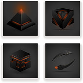 Abstract geometric glowing figures square pyramid arrow design set vector