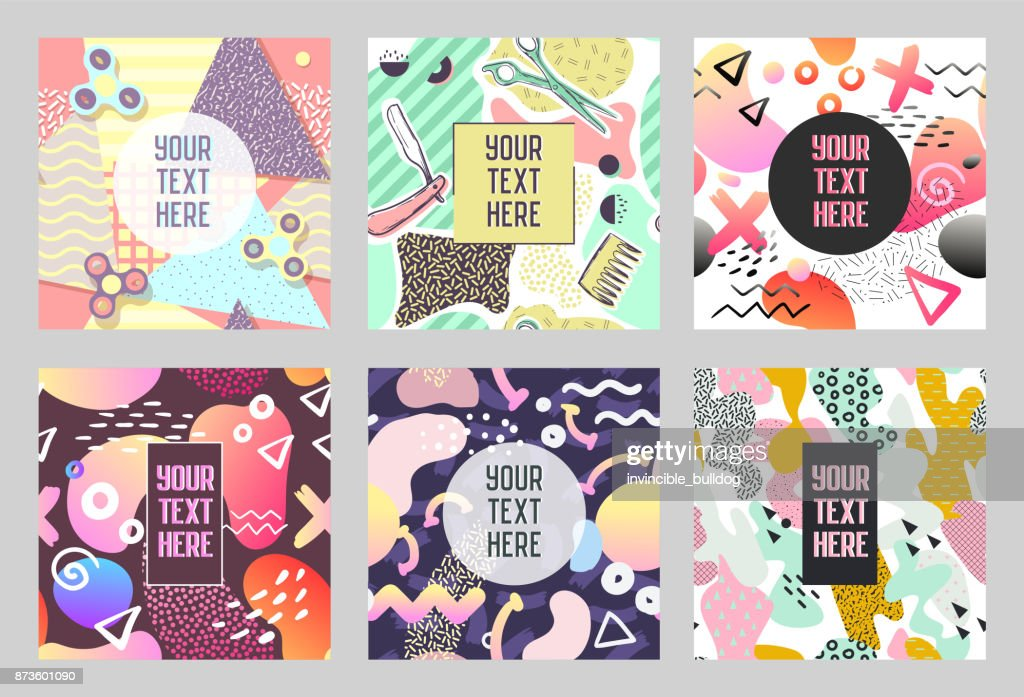 Abstract Geometric Hand Drawn Shapes Placards 80s 90s Trendy