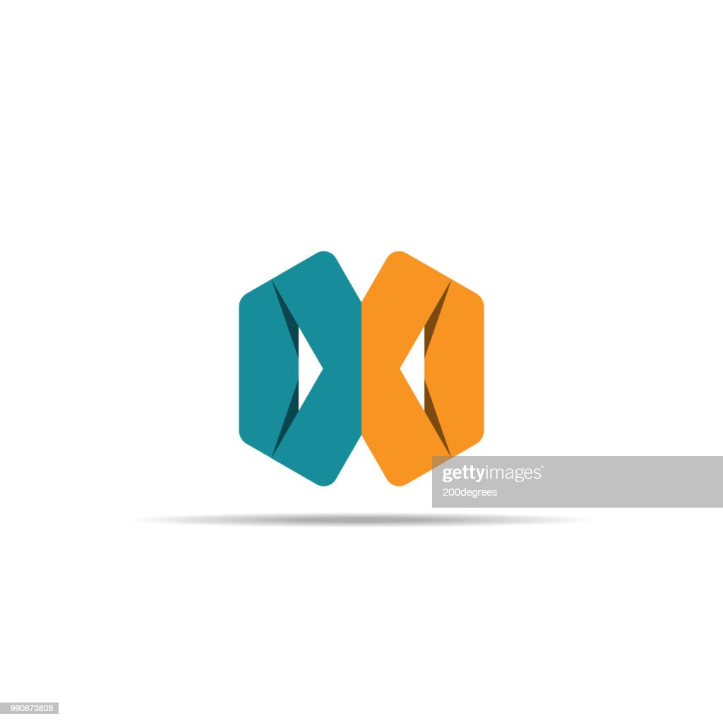 Abstract geometric letter X logo template with hexagonal element object. infinite cube box shape icon symbol design for mail, corporate business, apps, data technology. Vector illustration.
