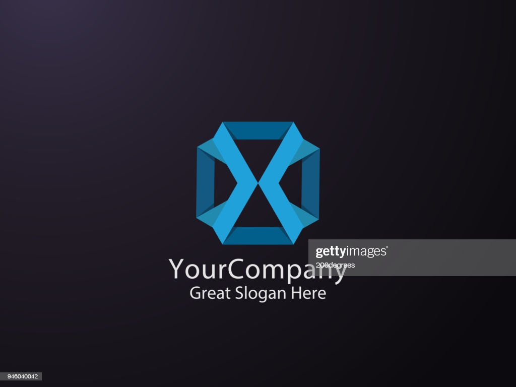 Abstract geometric letter X symbol template with hexagonal element object. infinite cube box shape icon design for mail, corporate business, apps, data technology. Vector illustration.
