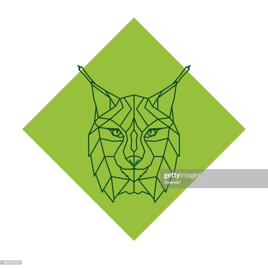 Abstract geometric lynx head. Vector illustration.
