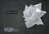 Abstract geometric paper shape on dark polygonal BG