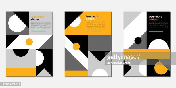 abstract geometric patterns cover template set. monochrome and yellow colors. - page stock illustrations