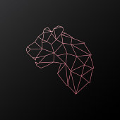 Abstract geometric pink panther. Head of wild animal. Side view. Vector illustration.