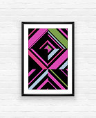 Abstract geometric poster frame on brick wall