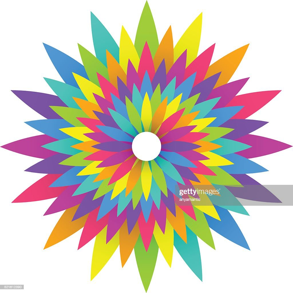 abstract geometric rainbow flower logo design