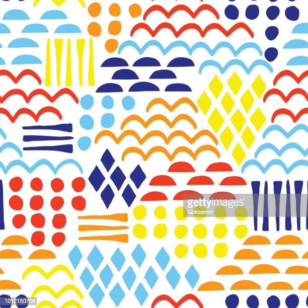 abstrakte geometrische seamless pattern. handgezeichnete bunten hintergrund. - orange farbe stock-grafiken, -clipart, -cartoons und -symbole