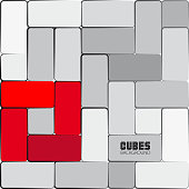 Abstract geometric shape from gray and red cubes